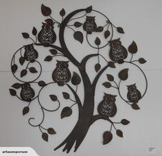 Metal Owls Hanging In Tree Wall Art | Trade Me