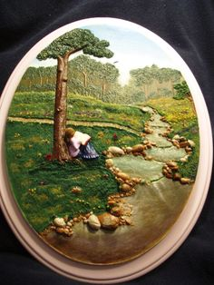 """""""A Safe Place"""" relief sculpture on wood plaque in polymer clay, By Shirley K. Johnson"""