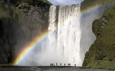 Rainbow at Skogafoss waterfall.