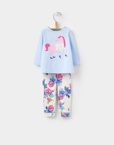 Featuring a cool applique Horse, this versatile two-piece set will be a great addition to her first wardrobe. Made with super-soft cotton, the top and bottoms can be matched, mismatched and paired with almost anything in her wardrobe. Joules Uk, Little Girl Outfits, Snow Suit, Up Styles, Trousers, Pants, Poppy, Baby Gifts, Floral Tops