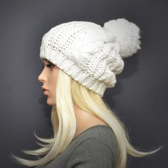 Slouchy cable style beanie hat. White knit pompom hat. by KnitLea
