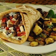 Greek steak wraps with tzatziki sauce from The Six O'Clock Scramble | ZipList.com