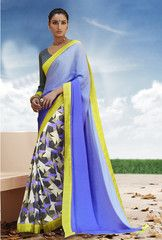 Ftrendy Blue colored Georgette  Printed Saree