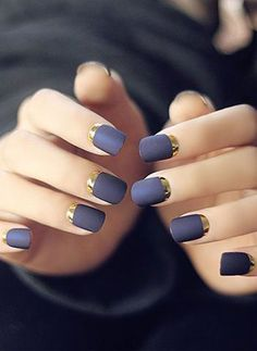 Gorgeous Crescent Moon Nails Art Design 2019 Black nail polish has always been very elegant. But if you make it a black matte nail polish and then a metallic gold crescent moon nail? You can walk the red carpet now. French Manicure Nails, French Tip Nails, Manicure And Pedicure, Reverse French Manicure, Purple French Manicure, Metallic Nails, Matte Nails, Blue Nails, Metallic Gold