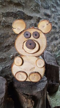 Wood slice/Log Bear by TheWoodStackShop on Etsy