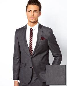GROOMSMEN - ASOS Slim Fit Plain Charcoal Suit In 100% Wool