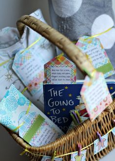 An easy tutorial for how to put together a baby shower gift basket with a fun poem on the tags to create a bedtime routine for the new bundle of joy!