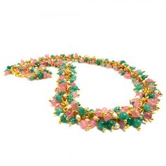 Pink and Green Beads Necklace