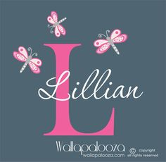 Dragonfly Girls Name wall decal  dragonfly by WallapaloozaDecals, $30.00