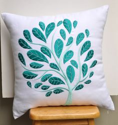 White Teal Floral Throw Pillow Cover White Linen Teal by KainKain