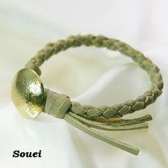 真鍮コンチョ 四つ編み ブレスレット  コンチョ(真鍮)【約22㎜】 レザー厚み【約5㎜】  ユニセックス   ブレスレット