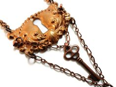 Steampunk Necklace Escutcheon Copper Keyhole by DrBrassysSteampunk, $29.00