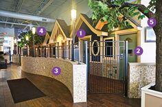 Reception area and exam hallway Hospital Design – Miriam Fraunhofer – pet resort Dog Boarding Kennels, Pet Boarding, Shelter Dogs, Animal Shelter, Indoor Dog Park, Dog Kennel Designs, Kennel Ideas, Luxury Dog Kennels, Cat Hotel