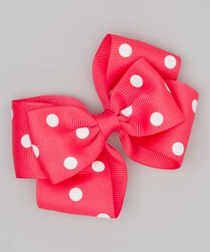Creative Cuties Hot Pink Dottie Bow Clip