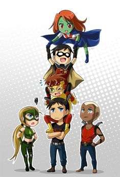 Chibi Young Justice so cute! Young Justice League, Young Justice Funny, Artemis Young Justice, Young Justice Robin, Justice League Unlimited, Deathstroke, Anime Chibi, Nananana Batman, Univers Dc