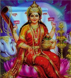 Lakshmi or Shri is the consort of Narayana or Vishnu. She is popularly known as the goddess of fortune or wealth. She emerged during the churning of the ocean by the devas and asuras. She appeared with a garland and was stunningly beautiful. The devas and asuras desired her but she pledged herself to narayana who was virtuous and handsome.  Get more details on http://www.indianscriptures.com/Article/Devta