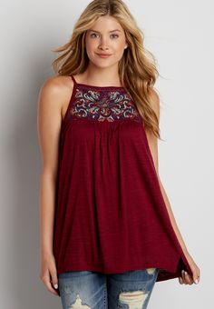 lightweight tank with embroidery and strappy back (original price, $32.00) available at #Maurices