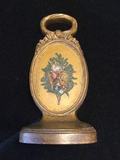 Bradley & Hubbard Metal Cast Iron Doorstop Flower Oval Medallion.         *3020 #ArtDeco #HubbardBradley