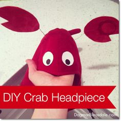DIY Costume: Crab Headpiece. Dagmar's Home, DagmarBleasdale.com #DIY #costume #fall #Halloween #handmade #crab #kids