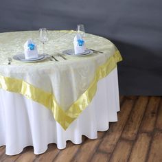 Bring the magic of Satin Embroider into your wedding ambiance with Tablecloths Factory's stunning Embroidered Organza Overlays. Purchase our upscale Satin Leaf Embroidered Organza Overlays at wholesale rates. Rainbow Wedding, Yellow Wedding, Photo Booth Design, Spring Wedding Decorations, Thanksgiving Decorations, Wedding Props, Wedding Table, Fall Wedding, Party Chairs