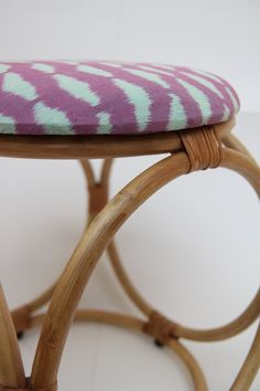 Rattan and Ikat Dice Stool from Mitsein. www.mitsein.com.au