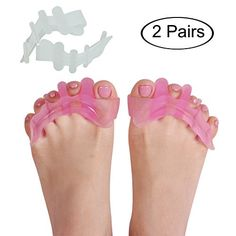 Gel Toe Separators Foot Care Gel Bunion Relief Protector Toe Straightener Spreader Painless Toe Corrector for Hallux Valgus Bunions Hammer Toes Bone Thumb Wear in Shoes 2 Pairs White & Pink:   <b>Are you usually suffer from the pain of your feet? Such as Bunions, Hammer toes, Metatarsal pain, Hallux Valgus, Bunionette, Claw Toes & Other Unsightly Foot Problems?</b><br><br> <b> Our gel toe separators are the best choice to solve these problems. </b><br><br> <b>Our painless corrector is ...