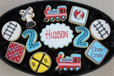 Train Cookies Birthday Party Favors Custom by Thomas The Train Birthday Party, Trains Birthday Party, 3rd Birthday Parties, Birthday Party Favors, Birthday Fun, Train Party Favors, Baby Boy Cookies, Baby Shower Cookies, Zug Party