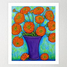 Radiant Fanunculus Vibrant orange ranunculus flowers in a purple vase painted in a creative, stylish composition