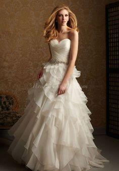 organza princess sweetheart sleeveless beading wedding dress with criss cross bodice - newdress2014.com