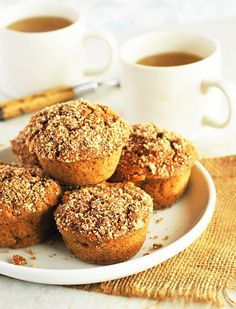 Apple Crumble Muffins (Gluten-Free, Vegan), oil-free, sugar-free muffins deliciously moist on the inside with crisp sweet and spiced topping.