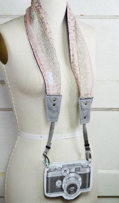 Camera Strap/ Silk Handmade Camera Strap/Light Pink by NukuTribe, $64.00