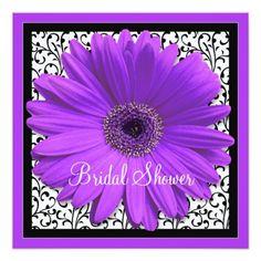 Purple Gerbera Daisy Bridal Shower Invitation