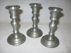 Pewter Taper Candle Stick Holders Qty 3 Restoration Hardware $12.99