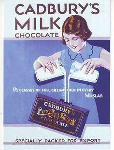 1935 Cadburys Dairy Milk Advert A3 Poster Reprint
