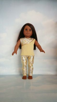 18 inch doll clothes - Gold Leggings and Top handmade to fit the American girl doll - FREE SHIPPING by susiestitchit on Etsy