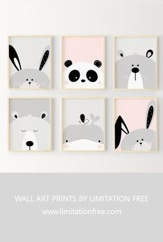 Nursery art Cute animal wall art prints for kids room or nursery Kids wall art Bunny Bear Whale and Panda illustration Animal wall art prints by Limitation Free Baby Room Wall Decor, Kids Wall Decor, Kids Room Wall Art, Nursery Wall Art, Baby Wall Decor, Baby Room Art, White Nursery, Nursery Room, Girl Nursery