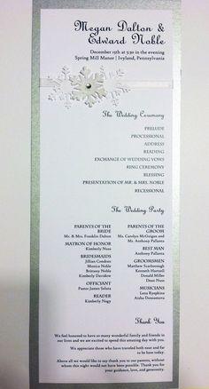 Snowflake Wedding Program Card by DesignsbyCherryOnTop on Etsy, $1.75