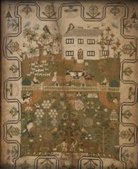 early 19th Century needlework sampler, worked by 'Anna Martha Brooks, Aged 7 years, 1827', with a design of a country house within a stylize...