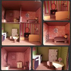DIY Doll house I made outta cardboard and scrap booking paper, why pay so much for a doll house when u can make it yourself for free!