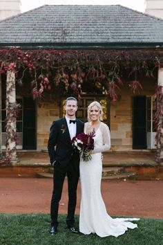 Ashleigh + Brendan. Stunning real bride Ashleigh wears our 'Carinna' gown. Karen Willis Holmes.