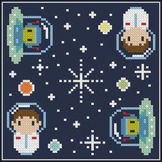 Oh Space Boy biscornu Cross stitch PDF pattern door cloudsfactory