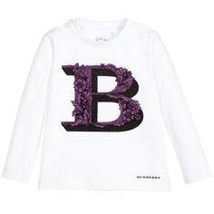 Burberry - Baby Girls White Cotton Logo T-Shirt   Childrensalon