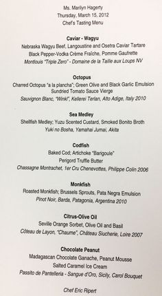 """Menu at Le Bernardin NYC  the """"best"""" restaurant in New York they say."""
