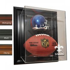 New Orleans Saints NFL Case-Up Mini Helmet & Football Display Case