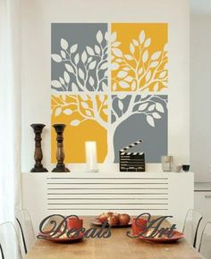 Tree Painting Wall Stickers- for a grey and yellow baby room :) Diy Wall Art, Wall Decor, Room Decor, Art Above Bed, Do It Yourself Design, Vinyl Wall Stickers, Diy Home Decor, Tree Decals, Stencil