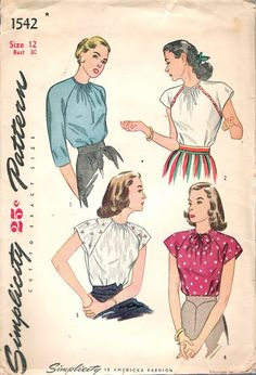"""Vintage 1946 Simplicity 1542 Misses and Women's Blouses Sewing Pattern Size 12 Bust 30"""" UNUSED by Recycledelic1 on Etsy"""