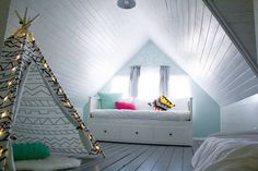 SEE ALL   |   9 OF 17    Family Friendly Fun Albuquerque, NM This downtown Albuquerque home has accommodations that both adults and children will be happy about. The children's bedroom comes complete with a dreamy tent and copious Christmas tree lights. The adults get a clawfoot tub and coloring books so they can get their relaxation on, as well.   Pillowfort Gray & White Teepee  $71.99     Teepee to Call Your Own (Multi-Dot)  $159     Teepee to Call Your Own (Silver Metallic)  $159…