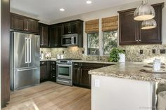 Traditional Kitchen with Kenmore 70413 27.6 cu. ft. French Door Refrigerator - Stainless Steel, U-shaped, Landen Cabinets