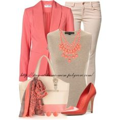 Like the coral and khaki mix