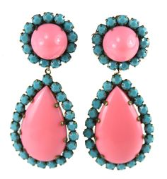 1960's KJL Pink and Turquoise Drop earrings - GORGEOUS!